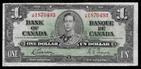 World Paper Money - Canada $1 Dollar 1937 Gordon & Towers Prefix J/M @ F-VF