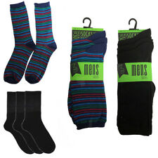 3 Pairs Mens Polyester Elastane Office Casual Work School Black Socks Size 7-11