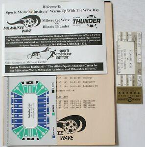 1991-92 Milwaukee Wave vs Illinois Thunder Program Ticket Schedule NPSL Soccer