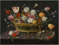 """perfect oil painting handpainted on canvas""""Sumptuous basket of flowers"""" N14187"""