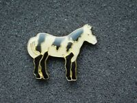 VINTAGE METAL PIN BLACK & WHITE PAINT HORSE