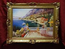 CUADRO casa en el lago paisaje ITALIA 90x70 Cuadro Con Marco Oro L6