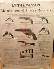 LARGE 1883 SMITH & WESSON POSTER. MANUFACTURERS OF SUPERIOR REVOLVERS. MAN CAVE!