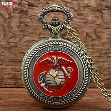 Men's Bronze US Marine Corps Pocket Watch Vintage Quartz Necklace Pendant Chain