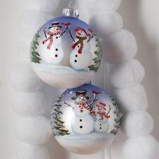"""RAZ Imports 4.5"""" Snowman Ball Glass Ornaments Set/2 Glitter Christmas NEW!"""