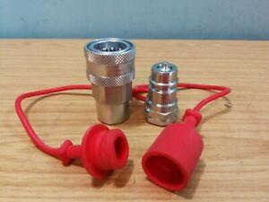 Set of Inteva QR Quick Release Hydraulic Coupling IsoA DN13 1/2 BSP + Dust Cover