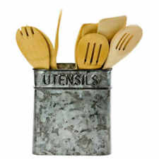 Boston Warehouse Galvanized Metal Embossed Utensil Holder