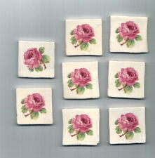 Mosaic Tiles Pink rosebud 9 rose cmksculptures ceramic rose handmade G565