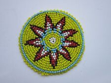 """Beaded Rosette 3"""" Round Leather Sewing Reglia Crafting Tribal Native Design 4A"""