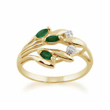 9ct Yellow Gold 0.17ct Natural Emerald & Diamond Floral Ring Size