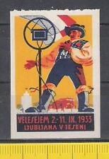 Vignette Mustermesse 1933 in Ljubljana Velesejem Mikrofon Musik Kunst Slowenien