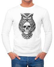 Herren Long-Sleeve Eule Totenkopf Owl Skull Schädel Langarm-Shirt Neverless®