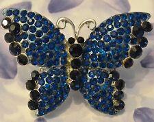 Dolly-Bijoux Fantaisie Grosse Bague Papillon Pavé Swarowsky Bleu Saphir 55mm