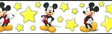 MICKEY MOUSE Wallpaper Border Disney Kids Yellow White Stars Children DF059291B