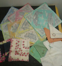 VINTAGE ASSORTED HANDKERCHIEF LOT OF 16 LONDON SOUVENIR + EMBROIDERED