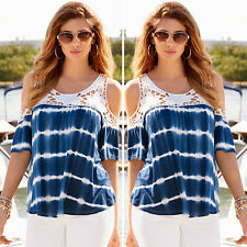 Womens Cold Shoulder Blouse T Shirt Lace Tie Dye Tops Summer Loose Casual Tee UK