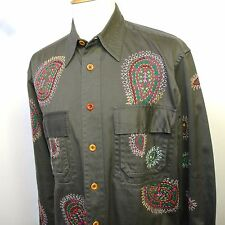 PAUL SMITH camicia in cotone verde militare con ricami size L made in India