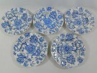 "5 Vintage English Chippendale Blue Wide Rimmed Soup Bowl 8"" Johnson Bros England"