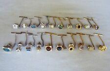 Lot of 20 Vintage Tie Tacks * Silver & Goldtones * Gemstones *  Nice