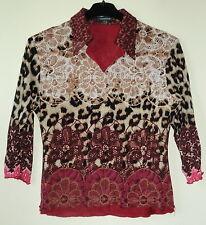 Dunkelrot/beige/schwarz gemustertes Shirt 3/4-Arm mit Innenfutter 2-lagig Gr. M