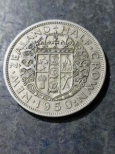 1950 New Zealand Half Crown KM #11a World Coin