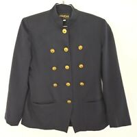 VTG 1980's Women's Black Blazer Gold Buttons Military Jacket 6 Double Breasted