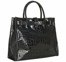 👀 FURLA Croc Embossed GRETA Leather Tote Shopper Large Purse ITALY $595 - Black