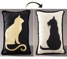 Reversible Pet Lover's Metallic Accent Pillow Kitty Cat Rectangle NEW