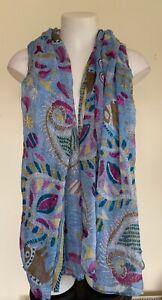 Unbranded Womens Blue Mandala Pattern Lightweight Summer Blanket Scarf Elephant