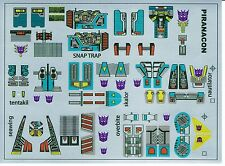 TRANSFORMERS GENERATION 1, G1 DECEPTICON SEACONS REPRO LABELS / STICKERS