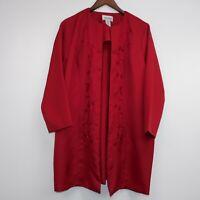 Anthony Richards Vintage Shiny Dark Red Robe Size 16P Long Sleeve Embroidered