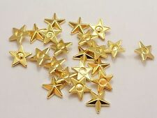 100 Gold Tone Metallic Acrylic Star Studs 14mm No Hole Cell Phone Deco