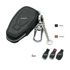 Genuine Cow Leather Zipper Bag Cover fit for MERCEDES BENZ Smart Remote Key BK