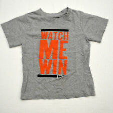 Nike WATCH ME WIN Boys Shirt Size 7 Gray Cool Athletic Tee Competitive Sports