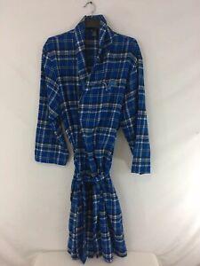 NFL Team Apparel Detroit Lions One Size Blue Tartan Plaid Flannel Sleepwear Robe