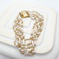 Faux Pearl Multi Strand Bracelet Vintage Costume Jewellery