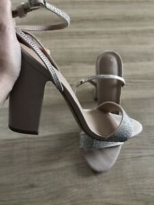 New Look Silver Diamonte Gem Nude Sandals Size 7 Summer Holiday Party RRP £29