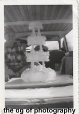 Mid Century Cake Delivery FOUND PHOTO b+w PHOTOGRAPHY Free Shipping D 71110