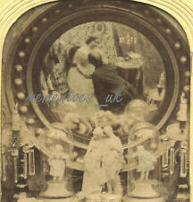 Stereoview Mirror Erotic Boudoir Stereoscopic card 1860 Hold to Light colour
