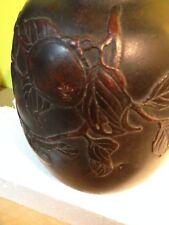 Antique/ Vintage brass bronze  vase With Raised  Fruits and vines Design