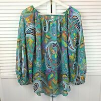 R Rouge Womans Top Loose Fit Blue Printed Paisley Size Small