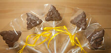 Handmade Belgian chocolate Poop/poo emoji lollipops/lollies x 10  gift/party