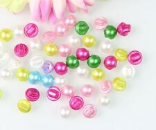 100PCS Round Domed Faux Pearl Buttons Sewing Scrapbooking Craft Mixed Colors