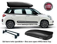 Barre portapacchi + BOX tetto BAULE 400 LT. nero opaco per FIAT 500 L.