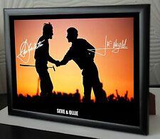 Seve & Ollie Ryder Cup Silueta Enmarcado Lona Homenaje impresión firmada Gran Regalo