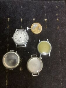 Group Of Vintage Military Wrist Watch Parts