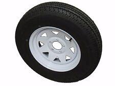 """ST185/80R13 LRD 8 PR KK Radial Trailer Tire on 13"""" 5 Lug White Spoke Wheel"""
