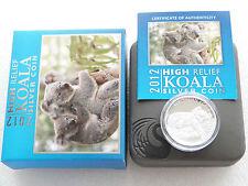 2012 Australia Koala High Relief $1 One Dollar Silver Proof 1oz Coin Box Coa