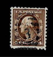 US  1908  Sc# 334  4 c Washington Used  - Crisp Color - Light Cancel