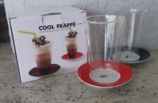NIB COOL FRAPPE SET OF 2 DOUBLE WALL LAYER GLASS WITH SAUCERS